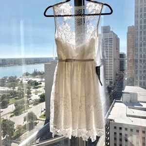 White Floral Lace Mini Dress - NEW WITH TAGS